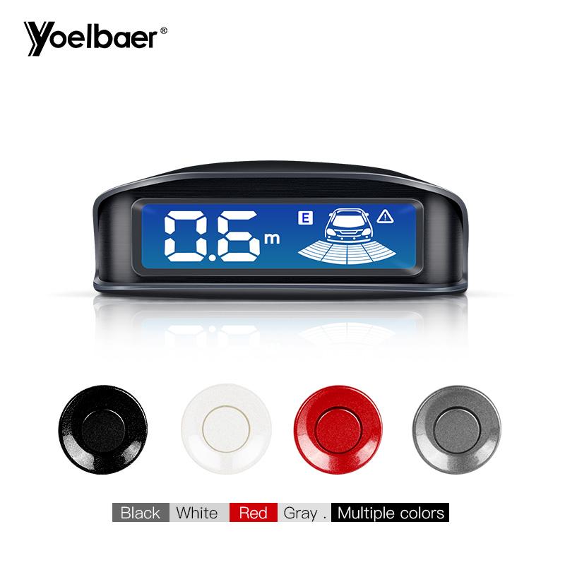 White 4 Parking Sensors LED Display Car Reverse Backup Radar Kit Backlight